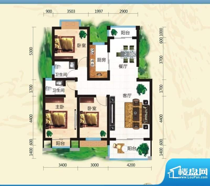 鸿豪城享山三室两厅面积:122.25m平米