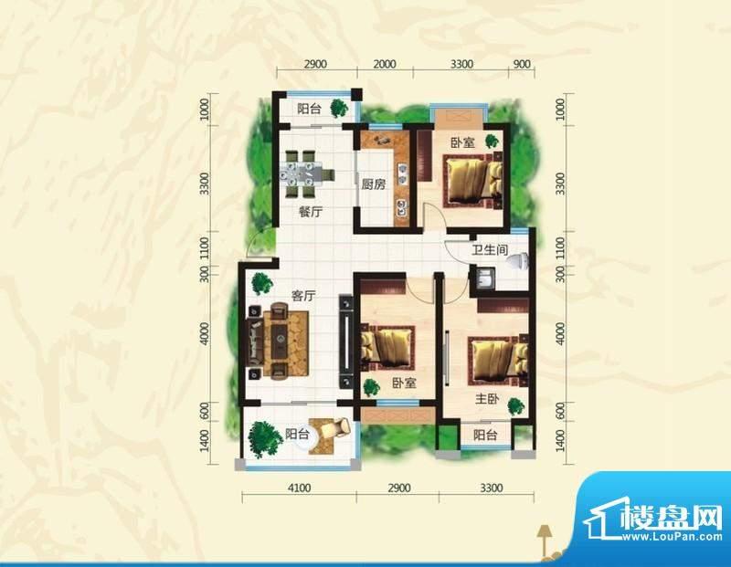 鸿豪城享山三室两厅面积:105.56m平米