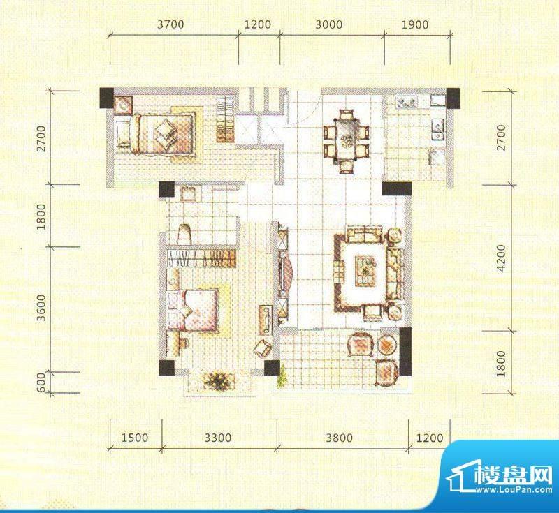 锦绣边城面积:74.00m平米
