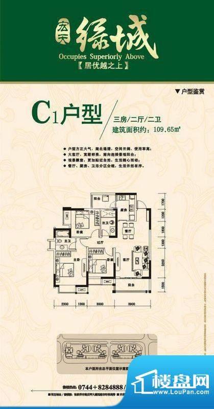 宏天绿城户型图C 3室面积:109.65m平米