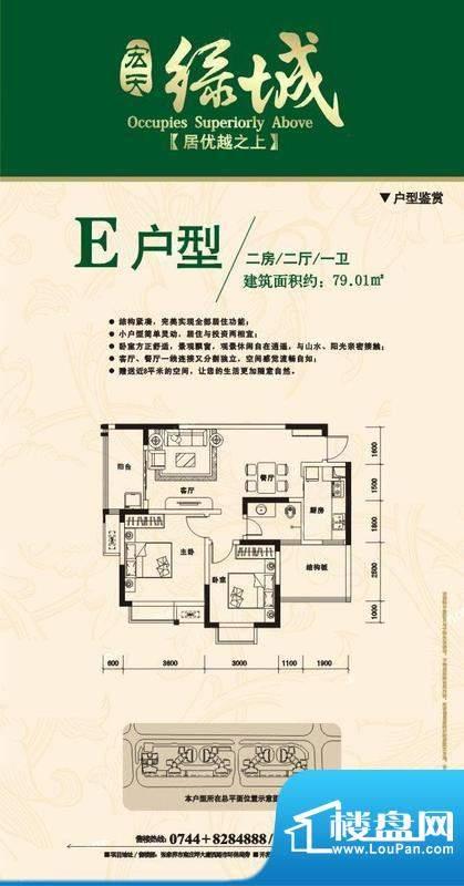宏天绿城户型图E 2室面积:79.01m平米