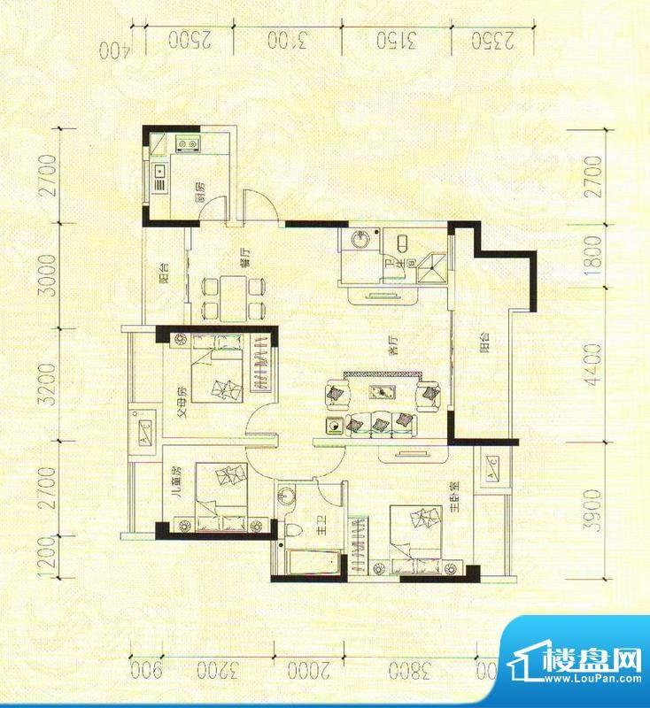 鑫成君泰7#A 3室2厅面积:120.52m平米