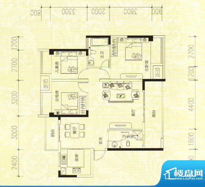 鑫成君泰7#B 3室2厅面积:120.86m平米