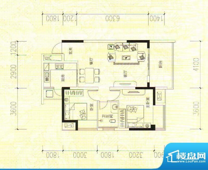 鑫成君泰7#C 2室2厅面积:86.26m平米