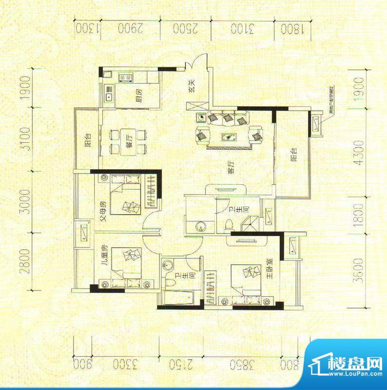 鑫成君泰10#A 3室2厅面积:124.21m平米