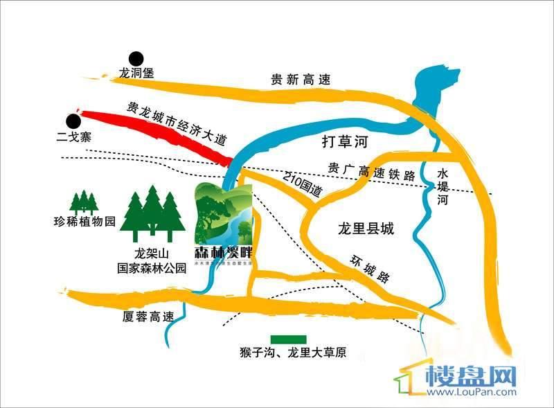 森林溪畔交通图