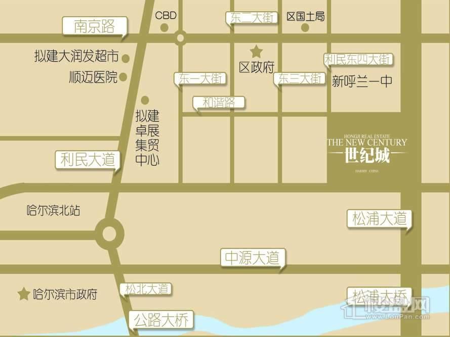 弘基世纪城交通图