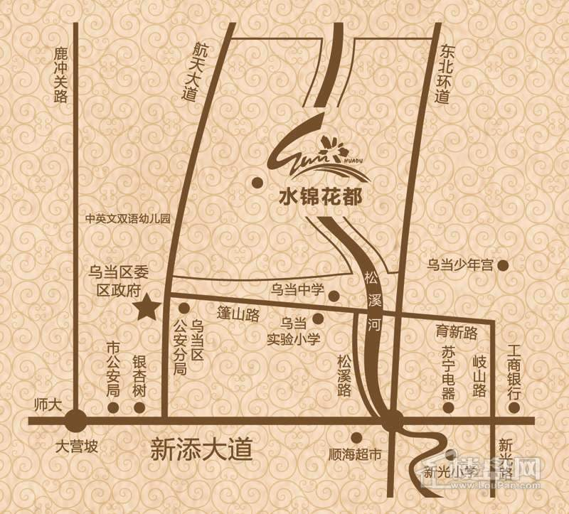 水锦花都F组团(黄金水岸)交通图