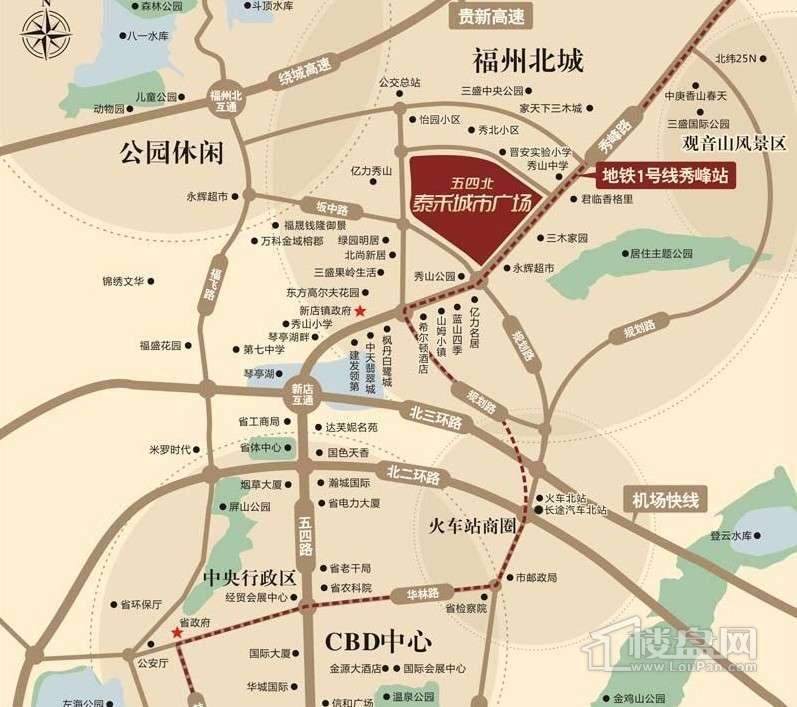 五四北泰禾广场交通图