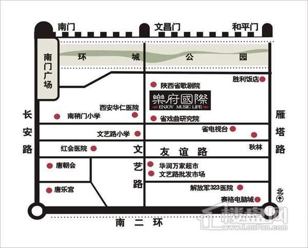 乐府国际公寓交通图
