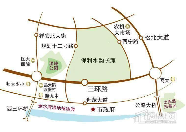 保利水韵长滩交通图