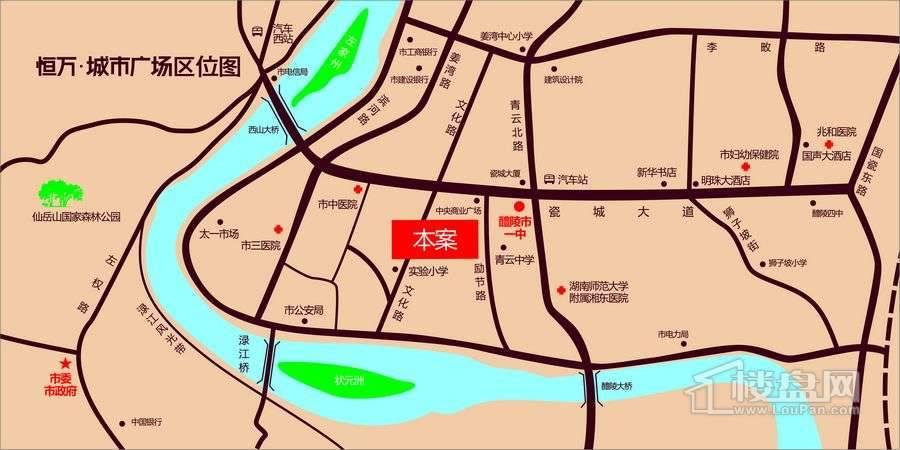 恒万城市广场交通图