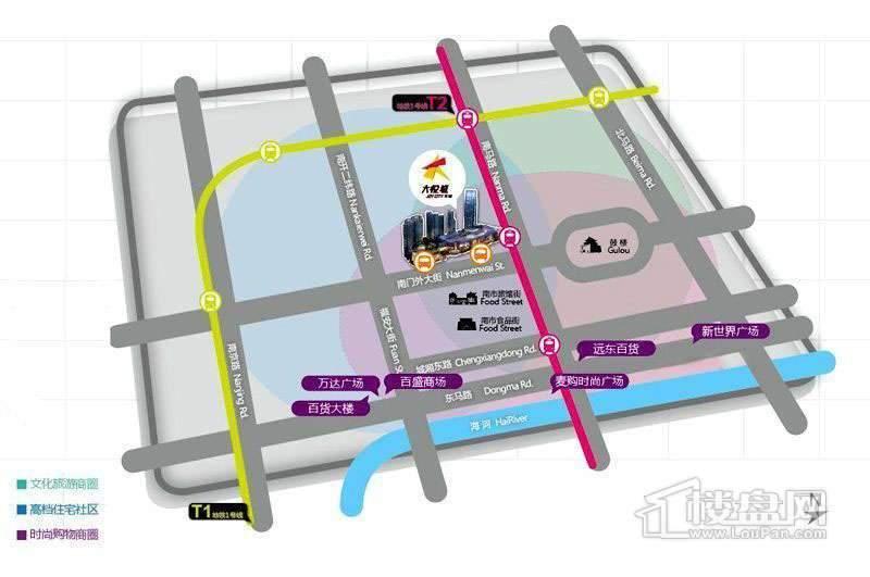 天津大悦城大悦公寓交通图