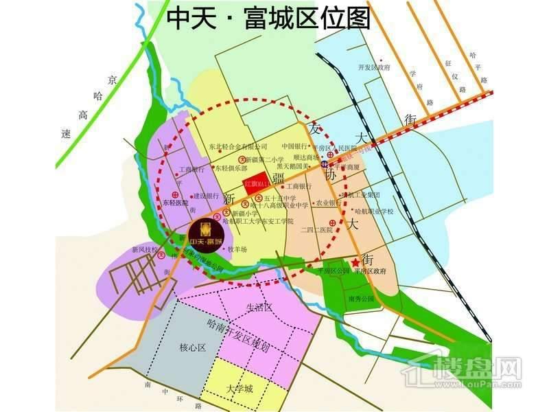 中天富城交通图