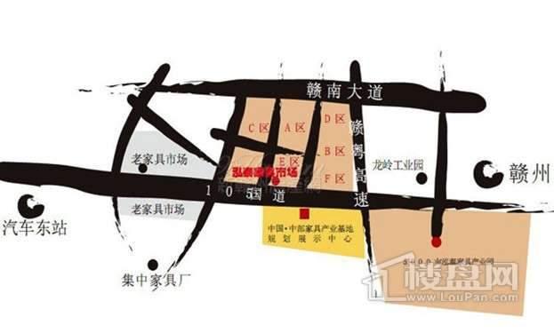 南康泓泰家具市场原产地商铺交通图