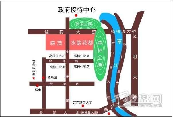 赣州水韵花都三期交通图
