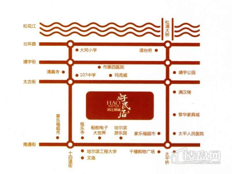 好民居滨江新城交通图