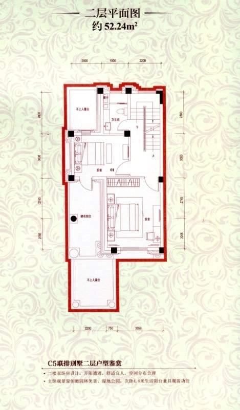 C5联排别墅二层平面图