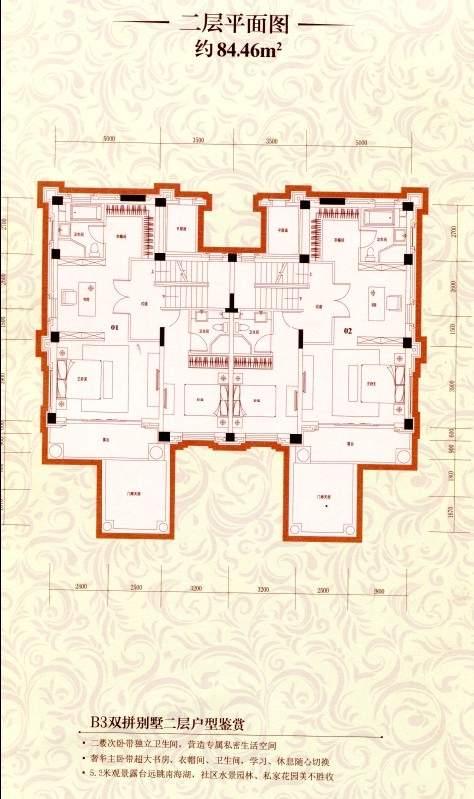 B3双拼别墅二层平面图