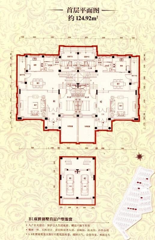 B1双拼别墅首层平面图