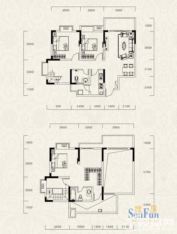 3号楼标准层C1、D1户型