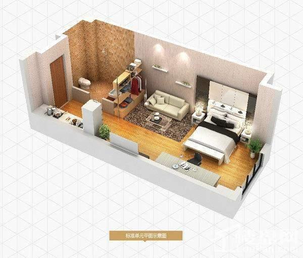 二期公寓标准层47.03平户型
