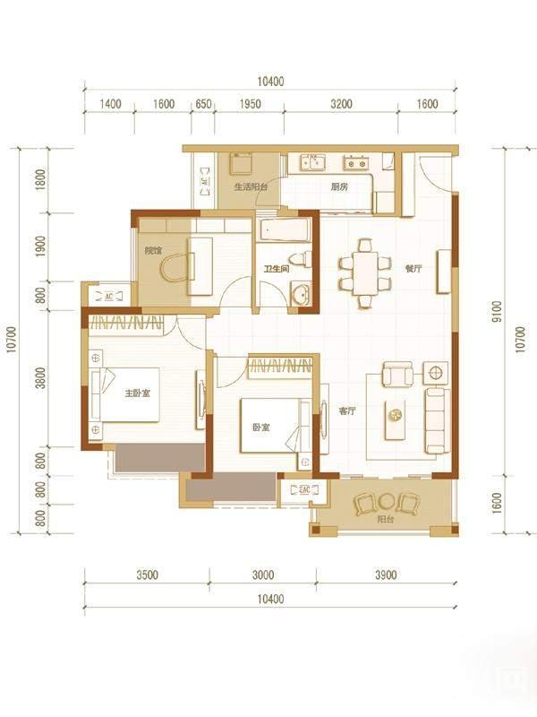 一期高层5号楼标准层A户型