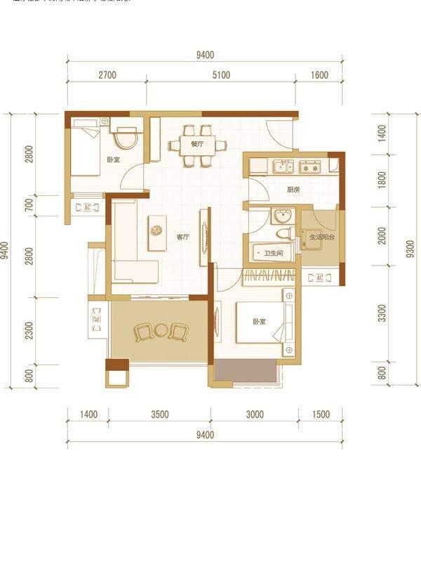 一期高层5号楼标准层B户型