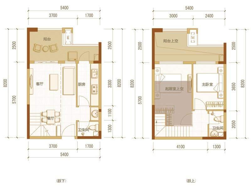 一期高层5号楼标准层D户型(跃层)