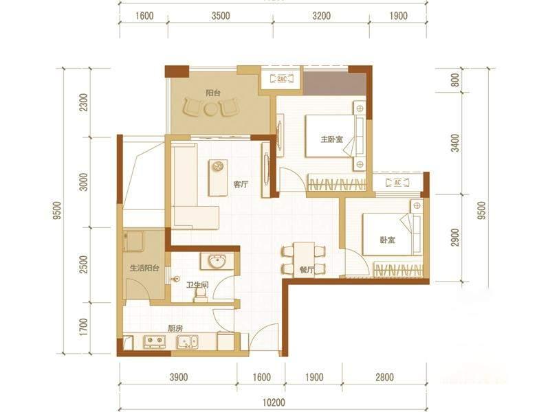 一期高层5号楼标准层E户型
