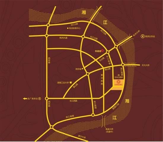 中泰财富湘江公寓位置图