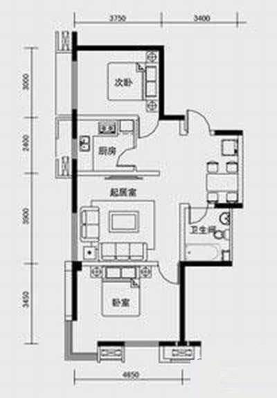1、2、3号楼标准层C2户型