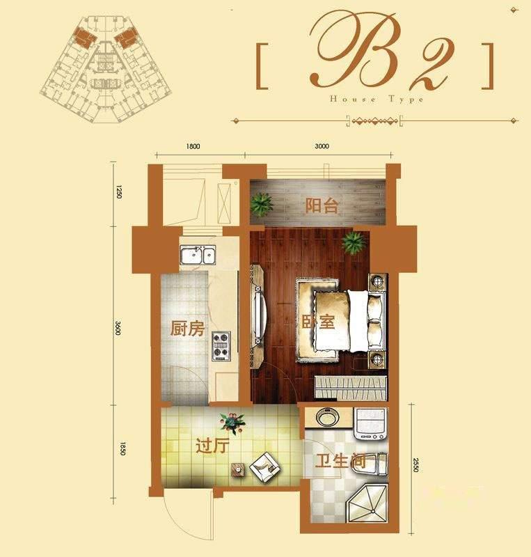 2号楼标准层b2户型