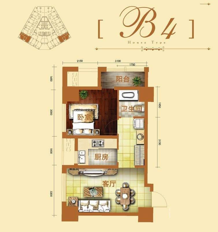 2号楼标准层b4户型