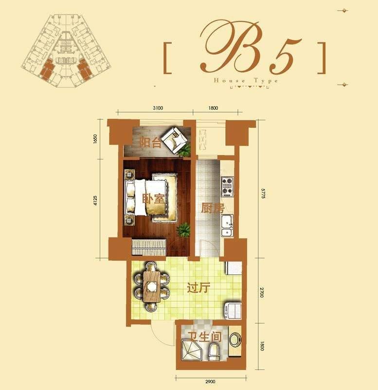 2号楼标准层b5户型