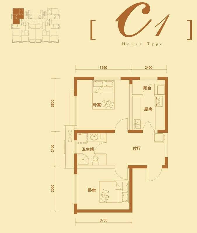 3号楼标准层c1户型