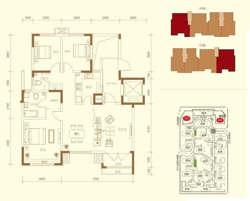 40、52#楼标准层2C-D-02户型