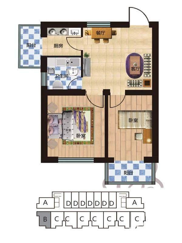 一期2#楼5-28层B户型