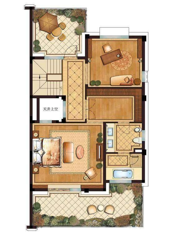 别墅a户型三层
