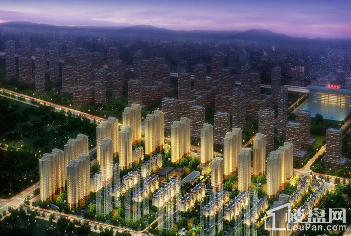 鸿坤·理想湾夜景鸟瞰效果图