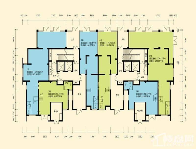 B区1#楼商业1层平面图