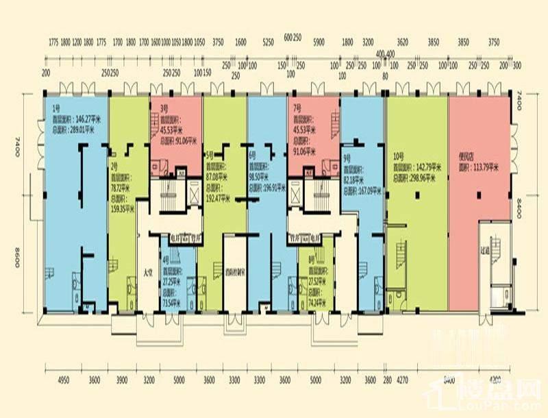B区2#楼商业1层平面图