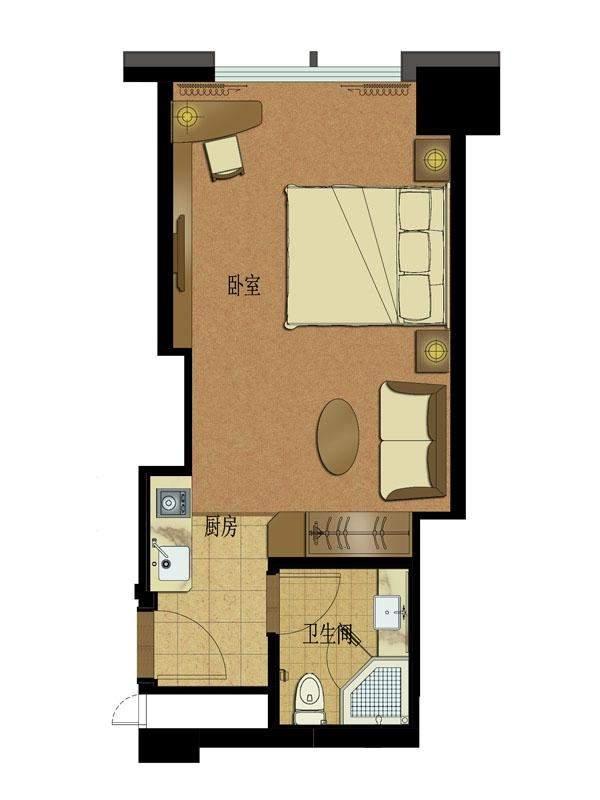 高层公寓1#楼5-11层北边套总裁行宫E户型