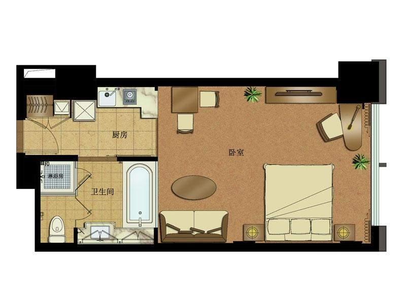 高层公寓1#楼5-11层中间套总裁行宫C户型