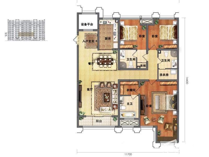 龙湖水晶郦湾洋房B3-4户型