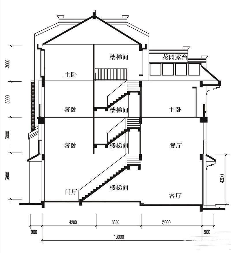 1-2-3-5-B户型剖面图