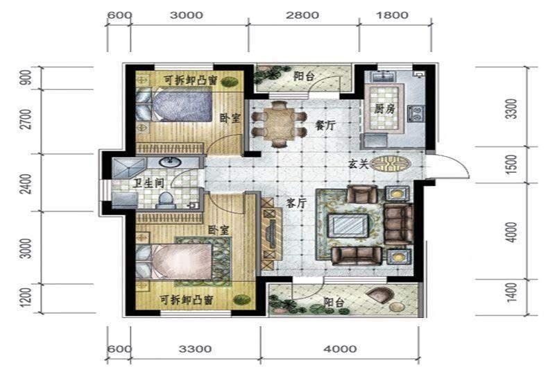 6、9号楼标准层E户型