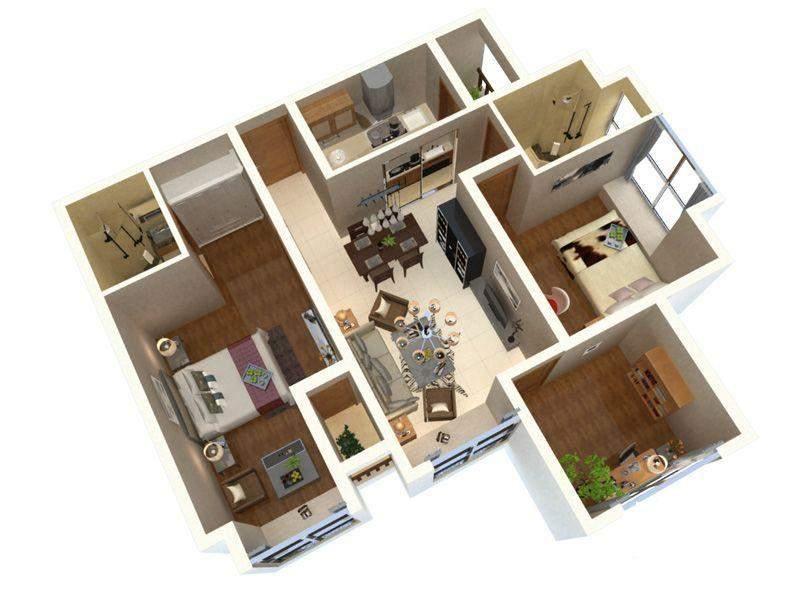 一期三号楼标准层户型图模型