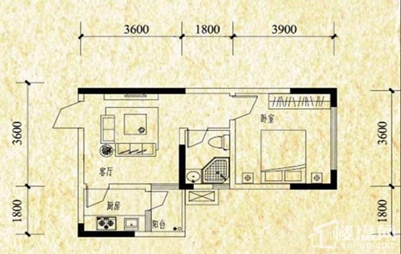 A栋标准层A3户型图