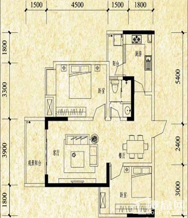 A栋标准层A2户型图